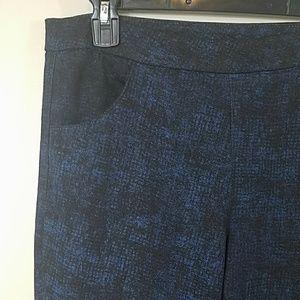 Topshop Black & Blue Print Skinny Pants